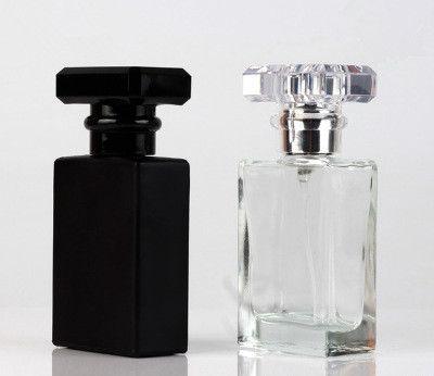 30 ml Temizle Siyah Taşınabilir Cam Parfüm Sprey Şişeleri Boş Kozmetik Konteynerler Gezgin için Atomizer ile EEA1251