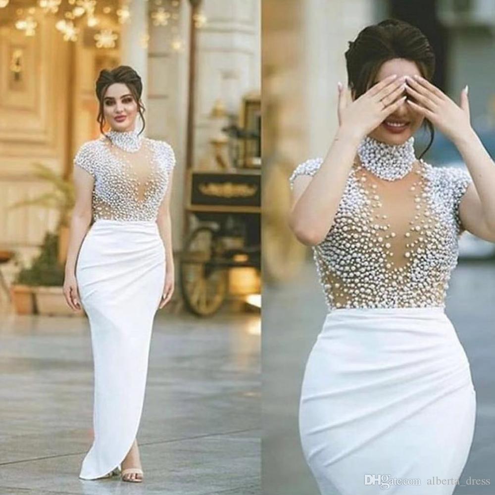 Cap Kollu Örgün Abiye Gala Artı boyutu Parti törenlerinde sayesinde Dubai Boncuklu Gelinlik Modelleri Beyaz Yüksek Boyun Illusion bakın