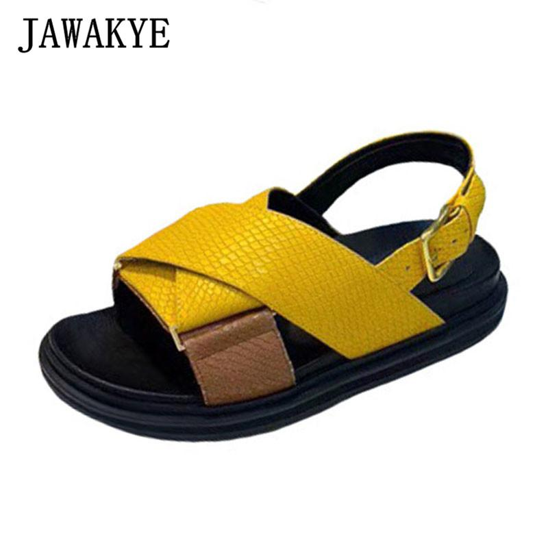 Real Leather Cross Band Platform Beach Sandals Women Cozy Thick Sole Flat Summer Shoes Candy Color Outdoor Casual Shoes Woman