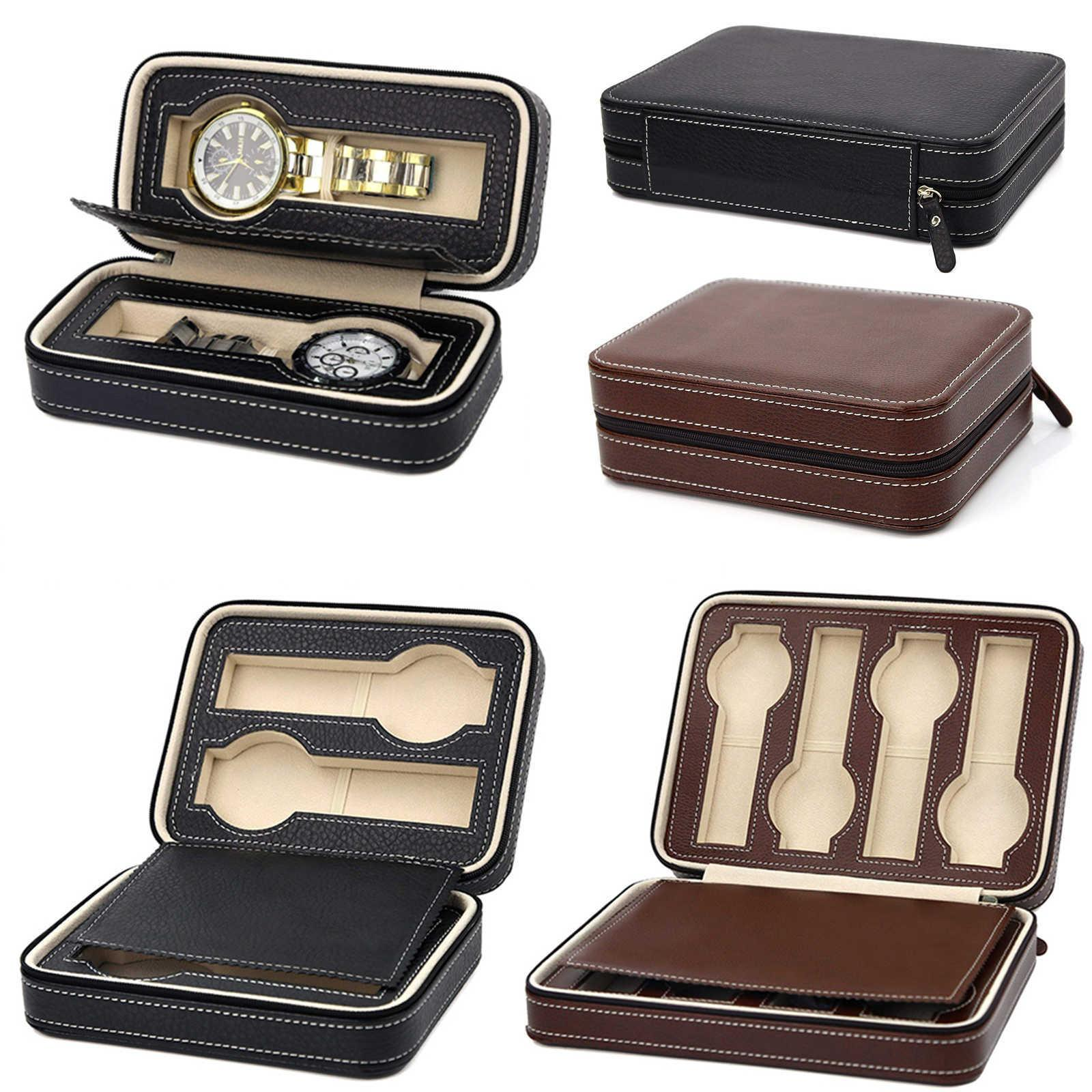 Couro pu portátil 2/4/8 Slot Watch Box Display Case Storage Organizer Watch Zipper Requintado E Durável Para O Amante D35 SH190729
