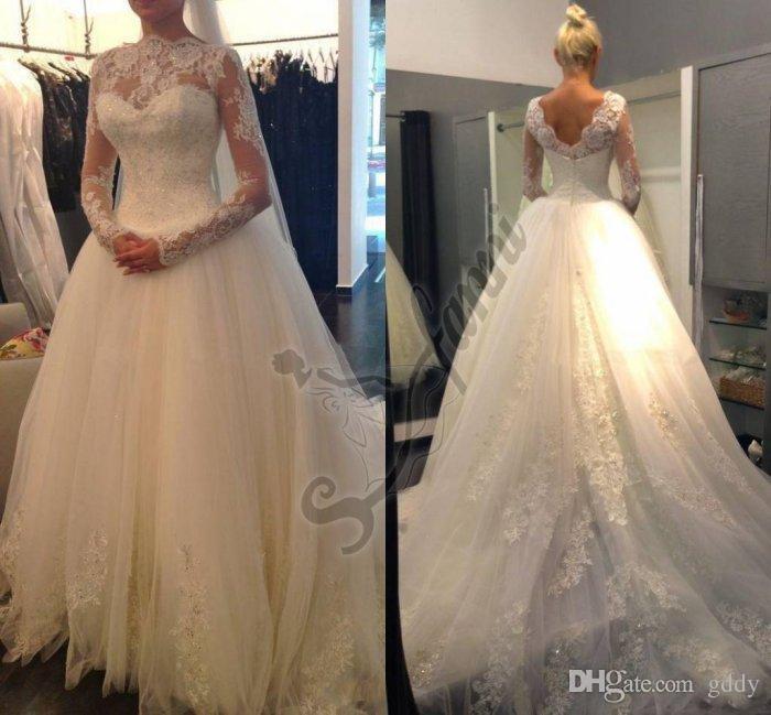 Chegada Nova Moda Clássica vestido de casamento com manga comprida gola alta e V Voltar Vestido de Noiva Lace apliques Tulle Skirt