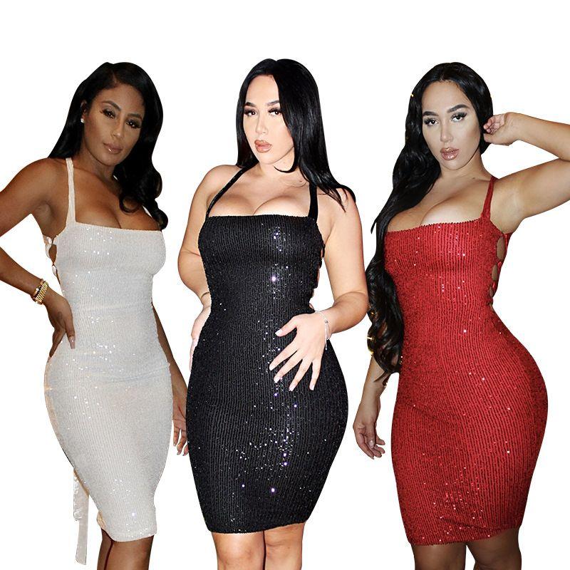 Frauen Kleid ärmellos sexy trägerlos Backless Pailletten Nachtclub Party Bandage Vintage Bodycon Mini Kleider 9515