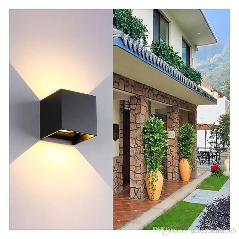 Lâmpada de parede quadrado interior e exterior de alumínio impermeável LED luz ajustável fundição de polimento Paint conveniente e seguro