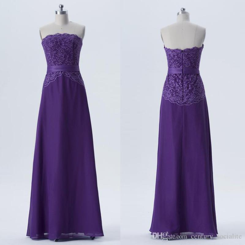 Lila Brautjungfer Kleider trägerlos Spitze lange bodenlangen plus size Abendkleider formale Kleider plus Größe
