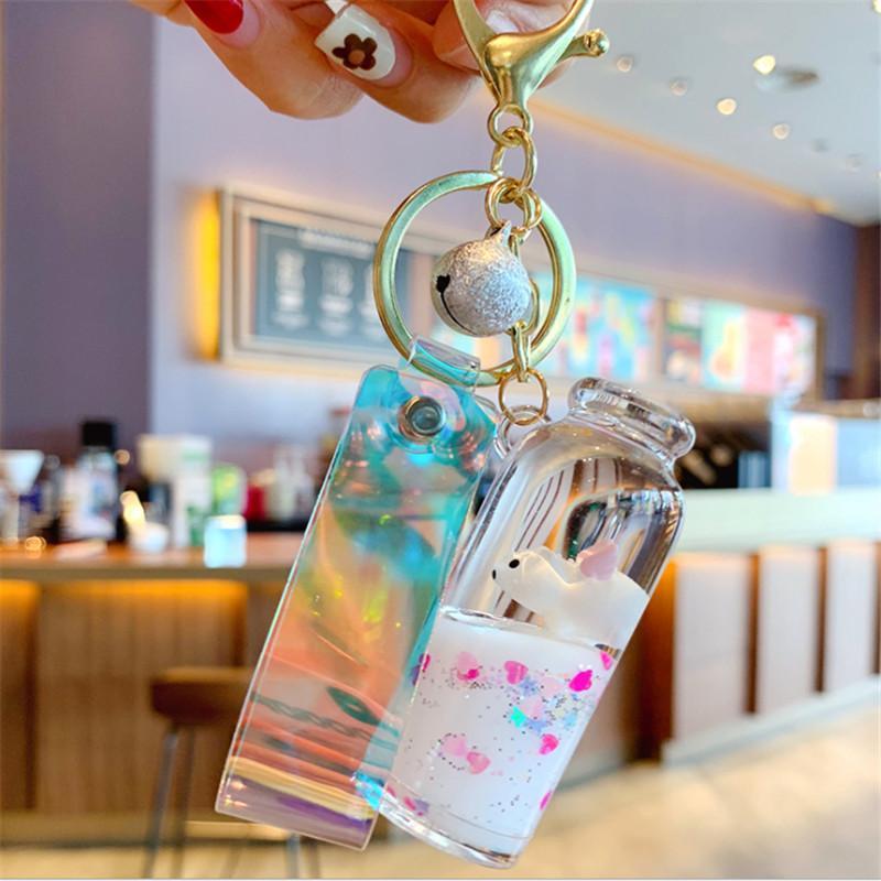 Botella linda llaveros bolsa llavero llave del coche de la baratija de Cadenas precioso accesorios colgantes flotante leche líquida cerdo regalo pendiente de los niños