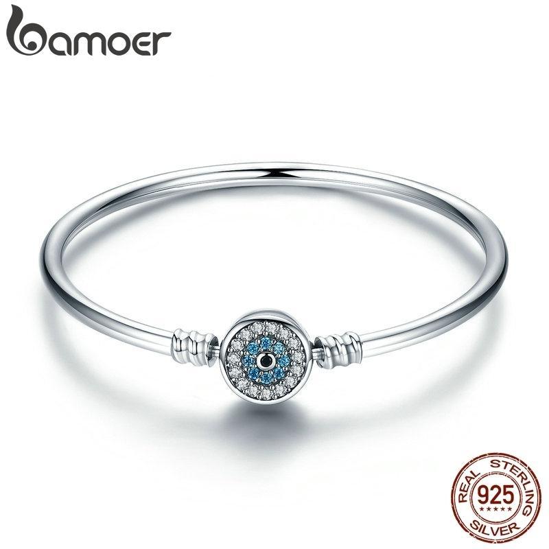 BAMOER alta calidad Auténtico 925 cadena de plata esterlina de los ojos azules de la serpiente Borrar CZ pulsera brazalete corazón de la joyería de lujo SCB012 CX200612