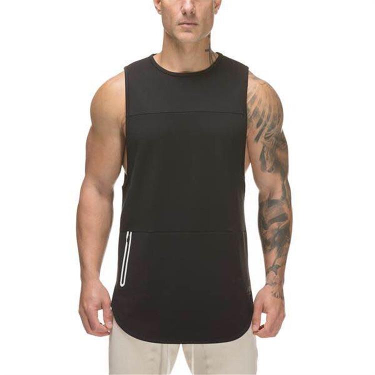 2018 New Style Hommes exercice Muscle Fitness Course à pied Entraînement respirant Elasticité pur coton sec rapide Elasticité Mèche Gilet en cours Jers