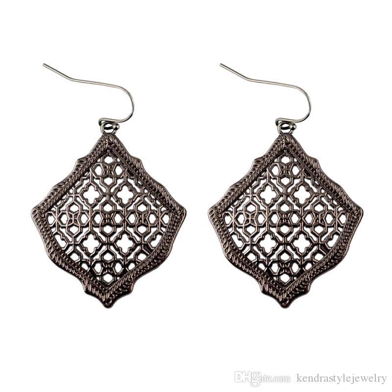 2019 новый кендра квадратный кайт филигранный вырез марокко серьги-подвески для женщин металлические филигранные серьги-капли стиль кендра