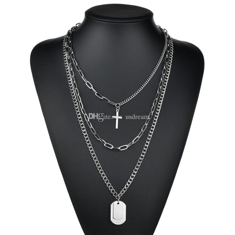 Многослойные цепи собака теги крест ожерелье Новый хип-хоп ожерелье кулон студент мода подарок ювелирные изделия новый