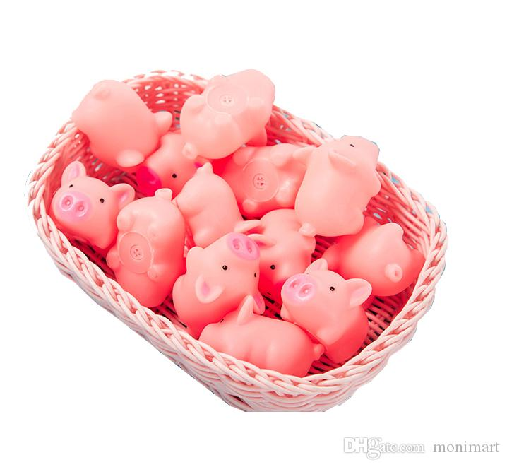 Baby Bath Pig Toy Pink Mini Rubber Toy Pig with Bibi Sound Swimming Water Fun Toys for kids
