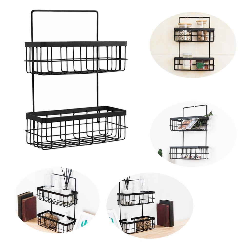 Decorativo semplice Wall Hanging Rustproof pratico bagno Accessori Mensola Double Layer frame Home Storage Basket Ferro