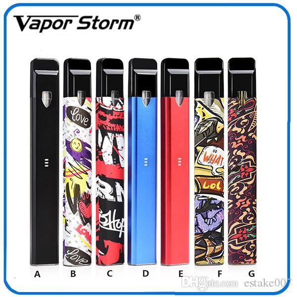 Аутентичные Vapor Storm Stalker Kit E Сигареты Vape Pen Kit 400 мАч Батарея 1.8 мл многоразового использования Vape картриджи 7 цветов 0268113