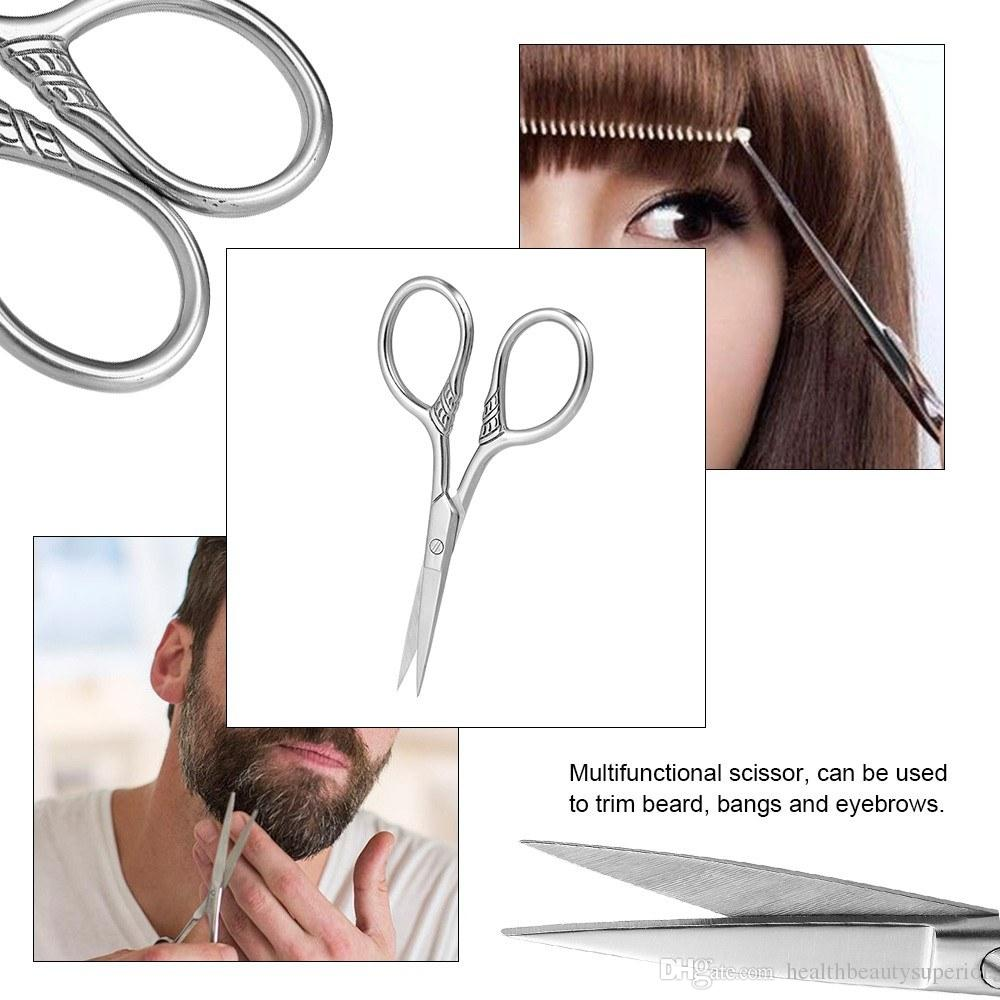 Professional Hair Beard Scissor Trimmer Eyebrow Bang Scissors Shaving Mustache Hair Cutting Stainless Steel Haircut Cutter for Barber Home