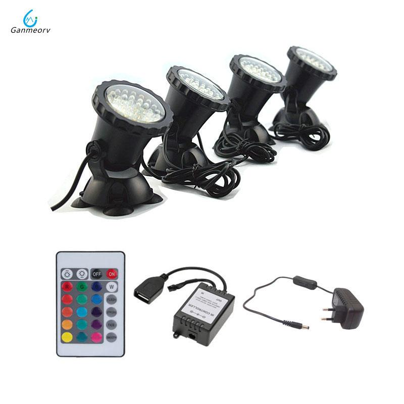 1 à 4 lumières à distance RGB 144 LED Underwater Light Projecteur étanche IP68 Eclairage pour bassin de réservoir d'aquarium Eclairage paysager