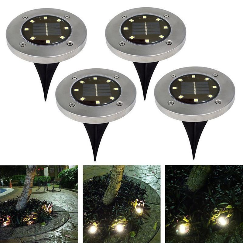 Luz subterránea 8 LED Potencia de energía solar de luz enterrada bajo la lámpara terrestre Camino al aire libre Camino jardín jardín jardín iluminación exterior