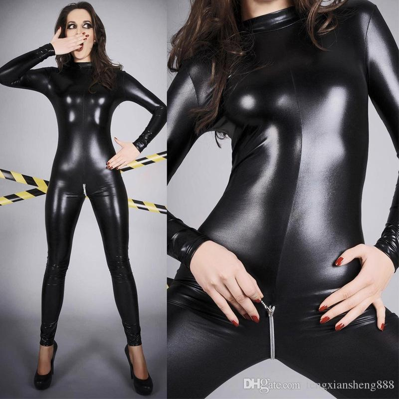Cuoio sexy PVC donne Playsuit tuta Taglie Body Catsuit Clubwear X6776 M - 4XL