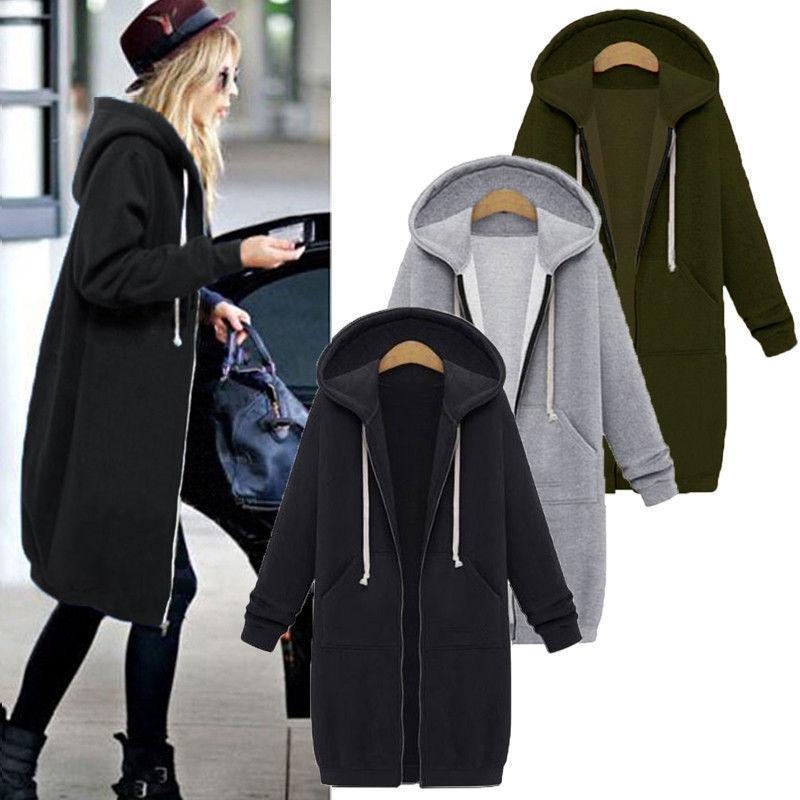 Sonbahar Kadınlar Casual Uzun Hoodies Kazak Ceket Cepler Yukarı Kabanlar Kapşonlu Ceket Plus Size Tops Zip