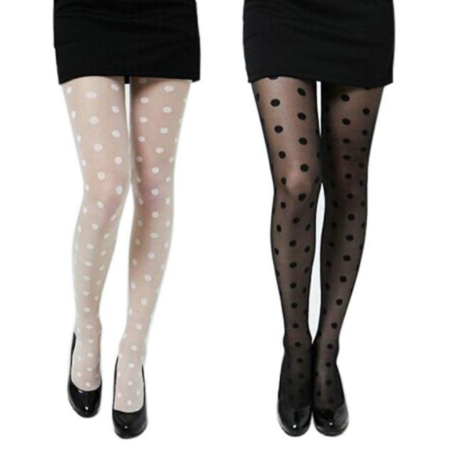 Women Sexy Sheer Lace Big Dot PantyhoseThin Stock Vintage Silk Stockings Tights Female Hosiery 2019 New 2.26