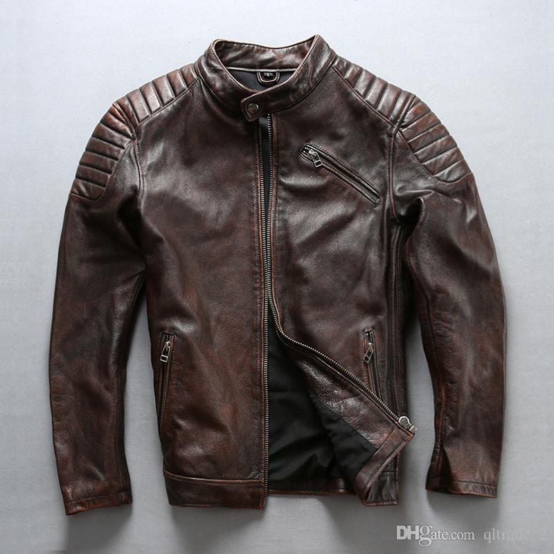 2 couleurs AVIREX FLY vestes en cuir moto vestes en cuir de vache col montant stand protéger épaule coude