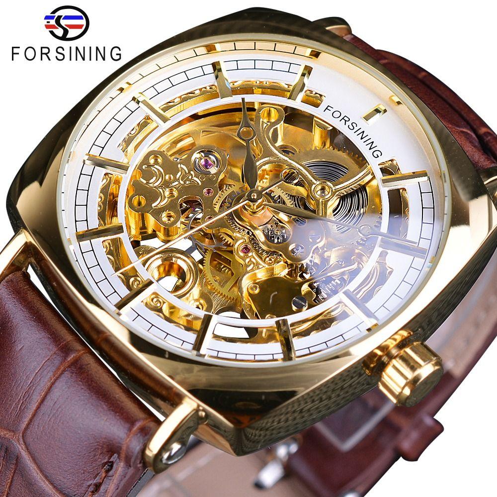 Forsining Rose Relógio Dourado Relógio Movimento Transparente Caso Preto Cinto De Couro Genuíno Dos Homens À Prova D 'Água Relógios Automáticos de Pulso SLZe125