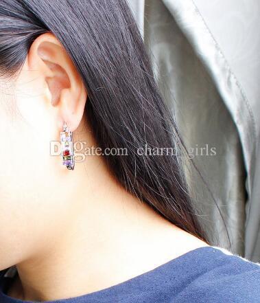 다이아몬드 지르콘 귀걸이와 함께 새 뜨거운 빈티지 곡선 후크 귀걸이 모나리자 귀걸이 걸쇠 세련된 고전적인 우아함