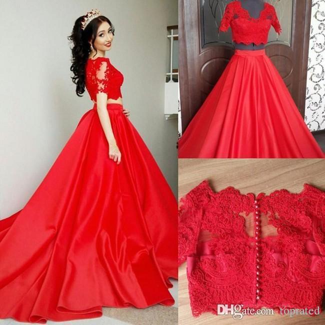 لونالخط = # ffff00  2020 Red Prom Dresses الدانتيل V-Neck قطعتان مع أكمام قصيرة الفساتين الحريرية حفل مساء حفل الدانتيل ملكة جمال المسابقة