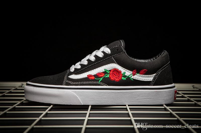 146ab852ea4eda ... 2019 VANS X AMAC Customs Men Women Skateboard Shoes Rose Embroidery  Sports Old Skool Skate Womens