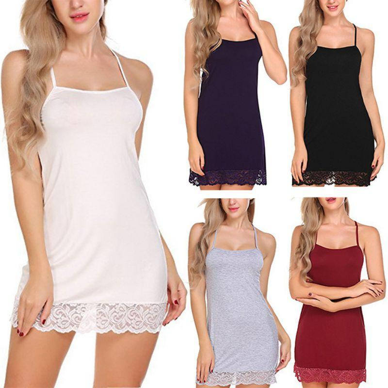 Chemise de nuit Femmes Lait soie Sling dentelle chemise de nuit Beauté Retour Mini Nightgowns à dos creux Robe