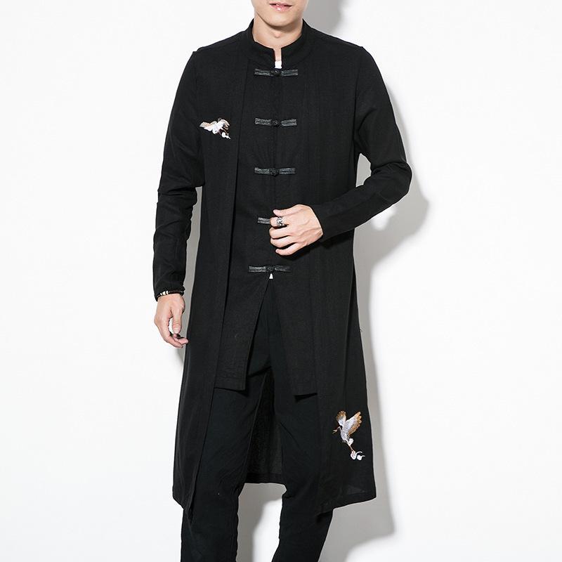 Cool2019 Desgaste dos homens Outono Casaco Solto No Costume Nacional Tang Tang Traje Bordado Pankou Fundo Longo Blusão