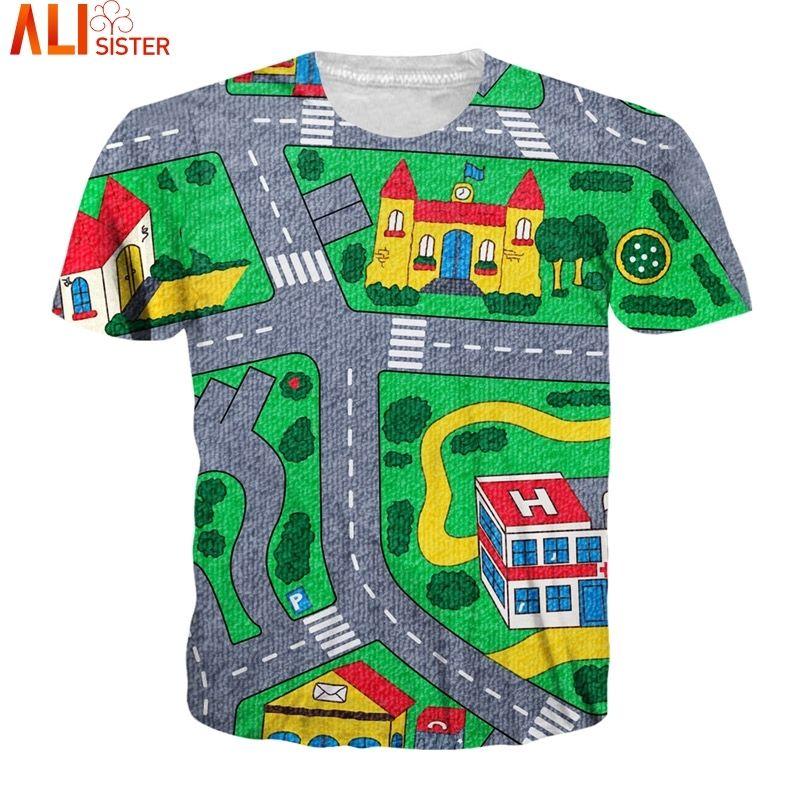 Alisister Mapa dos desenhos animados Camiseta 3D Homens Mulheres engraçado pulôver 2020 Verão Casual Marca Roupa Exteriores Tee Tops Dropship Y200409