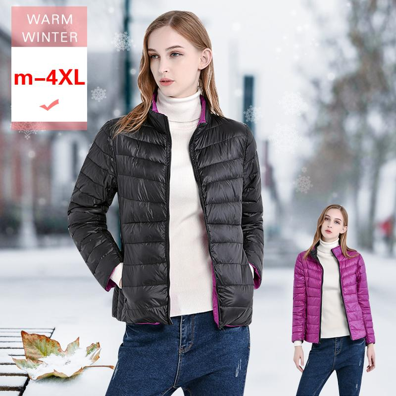 Sonbahar Kış Kadın Beyaz Ördek Aşağı Tersinir Ceket Kadın Ultra Hafif her iki taraf Ceket Kısa Sıcak Casual Kaban Yaka Standı