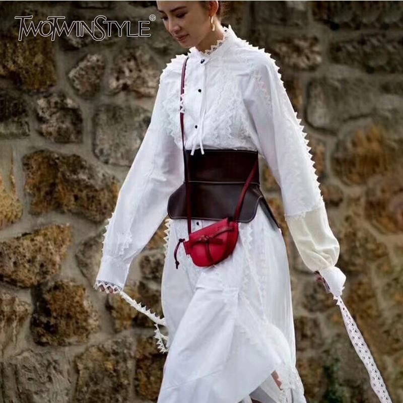 vendita all'ingrosso coreano camicia abiti donna manica lunga stand collare patchwork pizzo asimmetrico abito femminile primavera 2019 moda