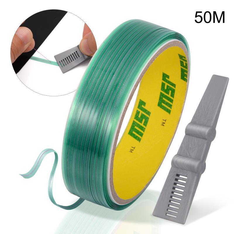 FOSHIO 비닐 랩 탄소 섬유 필름 50M Knifeless 테이프 디자인 라인 + 자동차 스티커 컷 원조 스퀴지 절단 테이프 자동차 액세서리