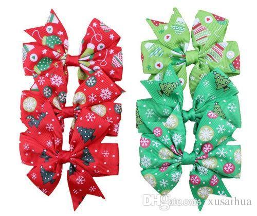 3 pouces arcknot cheveux clips arcs de Noël arcs avec clip d'arbre de neige imprimante bébé fille barrettes accessoires