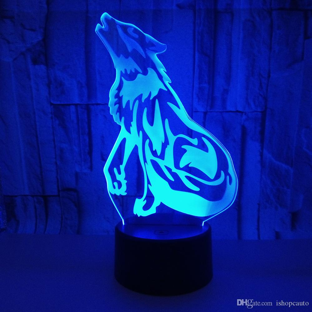 Волк 3D видения свет таблицы Сид касания акриловый светильник иллюзию света креативный 3Д ночник