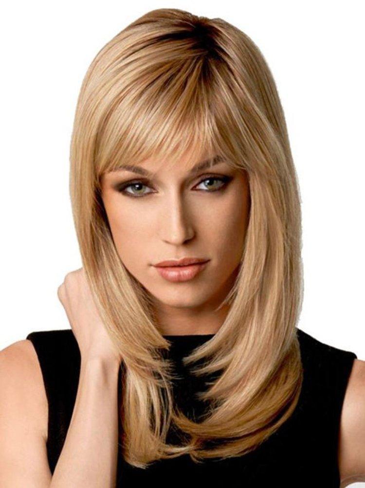 """14 """"Doğal Ombre Sarışın Düz Peruk Omuz Uzunluğu Sentetik Peruk Cosplay Sarışın Saç Tam Peruk Kadınlar Için Koyu Kök Ile + Peruk Kap"""