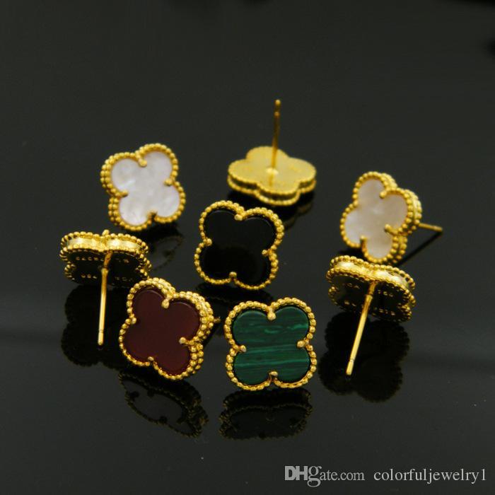 Ювелирные изделия оптом натуральный черный и белый раковины агата четыре цветка листьев серьги с медным покрытием 18 К золотые серьги