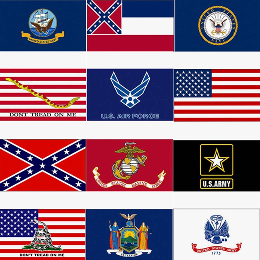 أعلام 3x5ft علم الولايات المتحدة الأمريكية ميسيسيبي دولة العلم الكونفدرالية 90 * 150CM الولايات المتحدة جيش راية القوات الجوية البحرية كورب البحرية راية حرية الملاحة HHA1422
