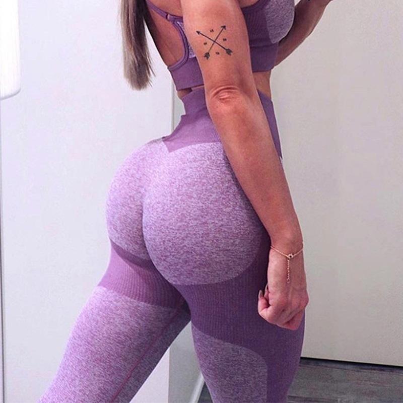 Seamless Gym Fitness Leggings High Waist Running Sport Yoga Pants Trousers Lady