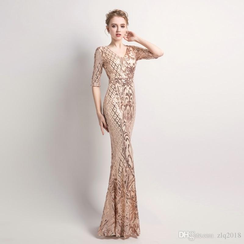 V cuello largo Oro vestidos de noche vestido 2019 de las mujeres elegantes de la sirena de las lentejuelas del partido de tarde del vestido de la media manga