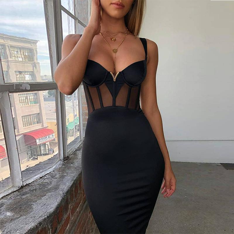 Ocstrade Summer Sexy Rayon 붕대 드레스 2019 새로운 도착 메쉬 삽입 여성 붕대 드레스 흑색 파티 나이트 클럽 Bodycon