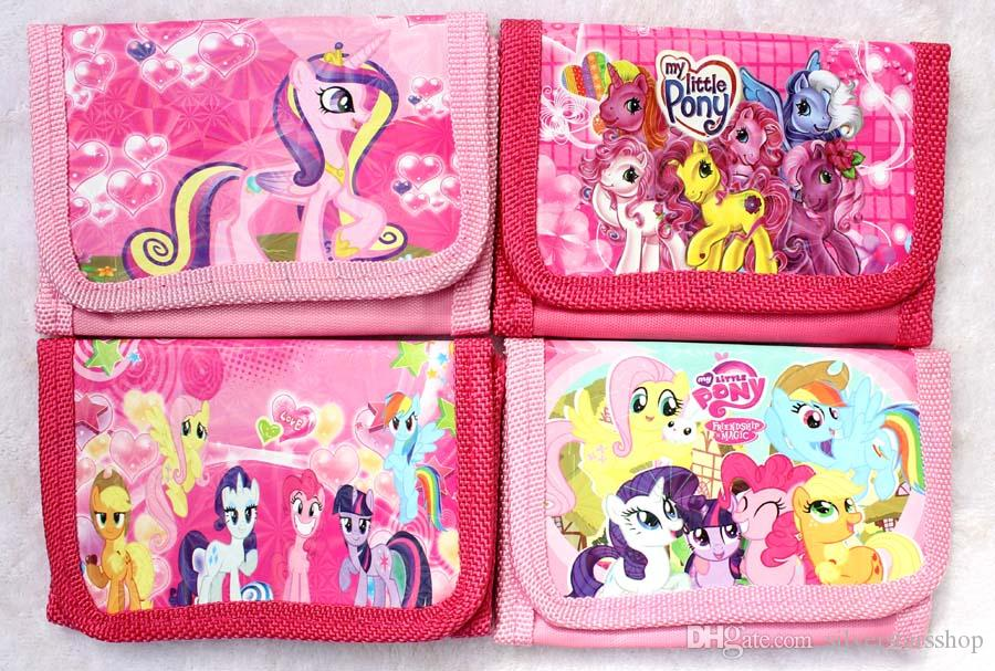 Nuevo éxito de dibujos animados pequeño caballo logo niños billetera moda Fold monederos bolsa envío gratis