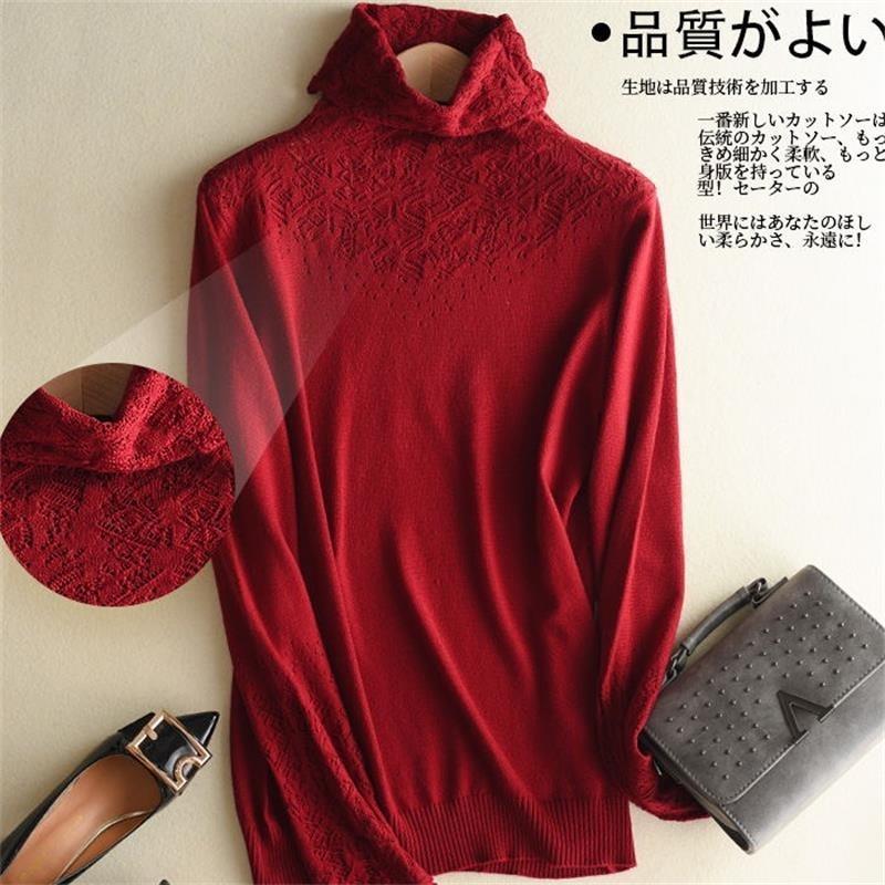 Mulheres malha Camisolas Camisolas de gola camisola de manga longa de cor sólida Mulheres V191130