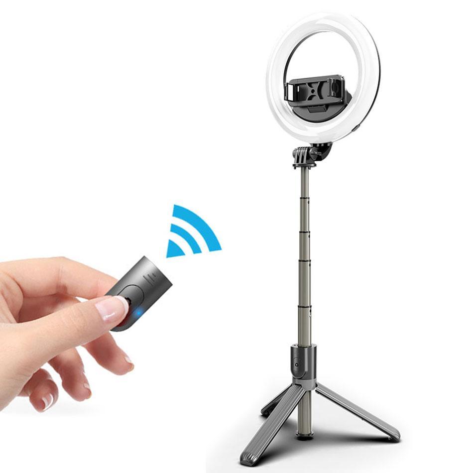 L07 selfie Seguir con 5 pulgadas LED selfie anillo de luz con soporte plegable Trípodes Trípode selfie de maquillaje en vivo