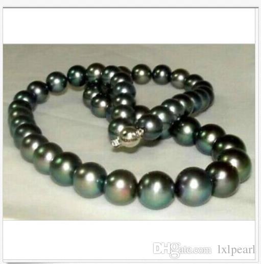 splendida collana rotonda di perle nere tahitian da 10-11mm perfetta in oro 14K 18K