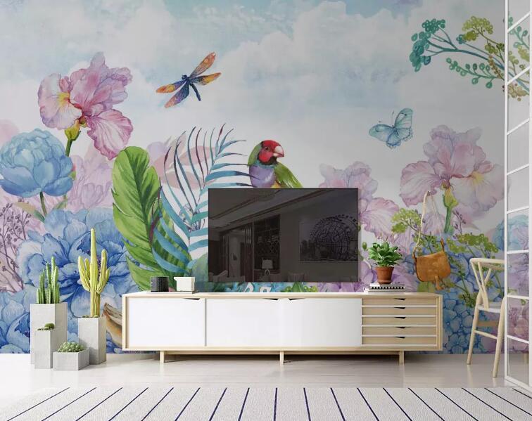 [Самоклеящаяся] 3D Окрашенные Цветы и Птицы WG1004 Обоев фреска Стена печати Decal стены Фрески Мужи