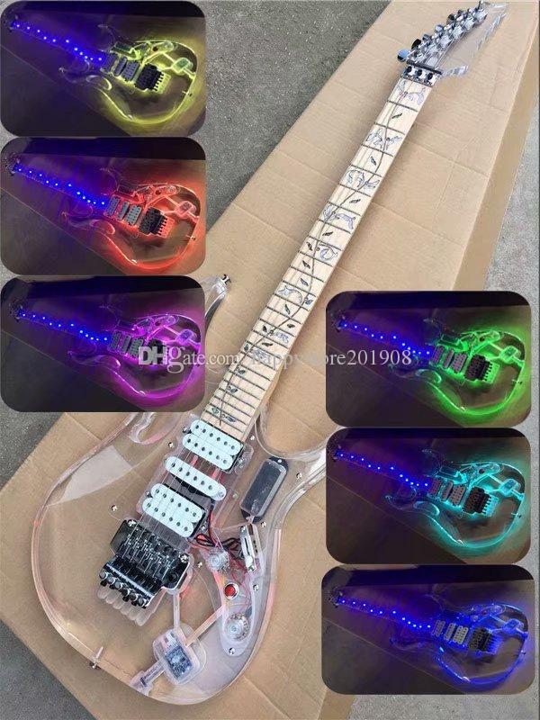 Colorful LED acrilico corpo chitarra elettrica con Floyd Rose Bridge, pickup HSH, può essere personalizzato