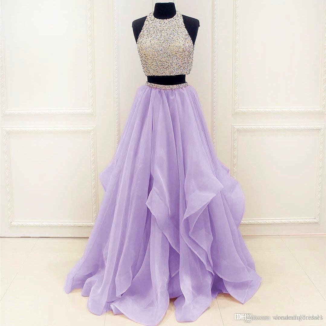 Schwere Perlen Lavendel 2 Stück Prom Kleider bodenlangen Organza afrikanischen Abendkleid Kleider WP244