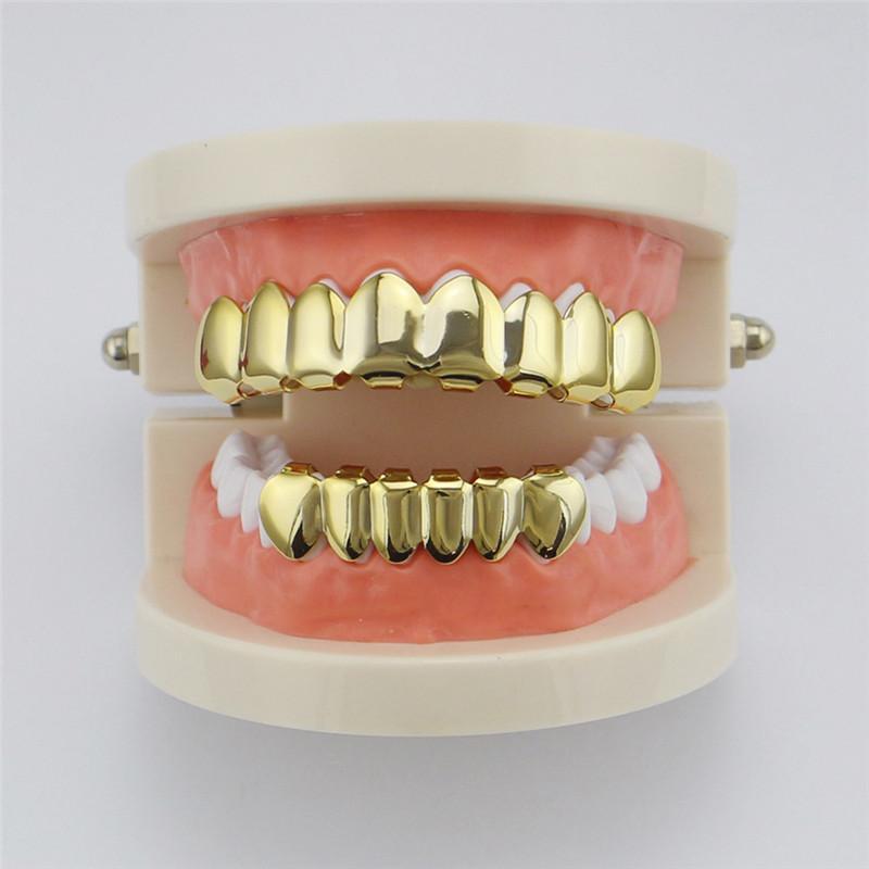 هيئة مجوهرات الأسنان GRILLZ مجموعة الأسنان المقبس الكهربائي لامعة الذهب الأسنان كاذبة من المألوف لمغني الراب الهيب هوب متعدد الألوان