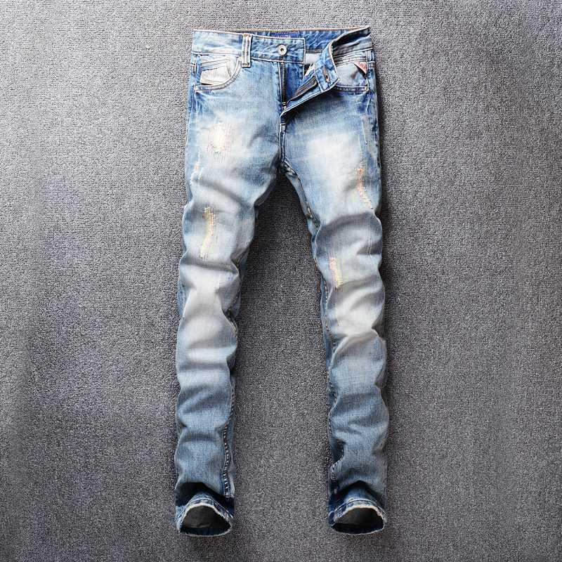 talian ديزاين للرجال جينز داكن لون مستقيم صالح القطن الدينيم سروال جينز ممزق للرجال موضة أوم الكلاسيكية